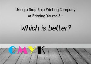 Using a Print on Demand Drop Shipping Art Prints Service OR Printing yourself? Image showing a wooden floor with CMYK letters on it