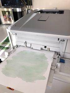 How to make a gold foil print - print the areas to be foiled on a laser printer